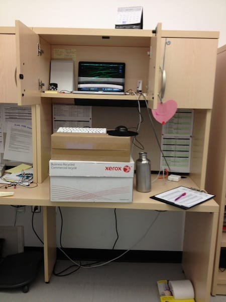 Standing desk: Before (boxes!)
